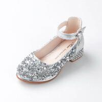 女童皮鞋高跟公主鞋春秋季2018新款韩版女童鞋小女孩水晶儿童单鞋