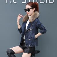 女装短外套冬季牛仔外套女加绒加厚2018冬装新款韩版修身短款大毛领棉衣