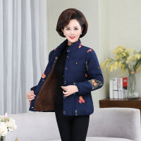 中老年女装棉衣冬季妈妈装加绒加厚奶奶大码冬装保暖棉袄 XL 建议90-105斤