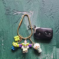 动漫车钥匙挂件 黄铜玩具总动员积木钥匙扣挂件包挂车挂动漫卡通钥匙链生日礼物