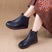 18冬季厚底保暖鞋手工缝制妈妈棉鞋复古民族风休闲短靴 黑色 35