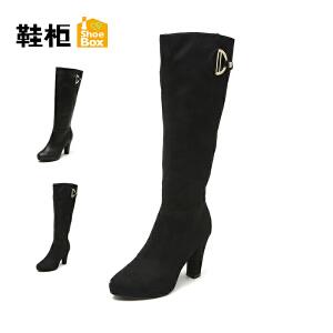 【双十一狂欢购 1件3折】Daphne/达芙妮旗下鞋柜 冬时尚性感女鞋潮粗跟侧拉链过膝长靴