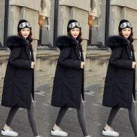 2019韩版羽绒服女中长款加厚宽松网红大毛领白鸭绒 S 【108斤以下】