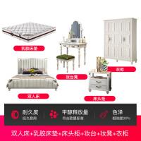 美式床双人床轻奢欧式实木床 床 现代简约实木双人欧式公主床家具1.5米1.8米北欧婚美式轻奢床 +床头柜*1+妆台+妆