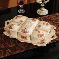 干果盘陶瓷分格带盖欧式糖果盒干果盒客厅创意家用坚果盒子水果盘 玫瑰 长方6格(HM11802MG)