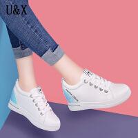 UX新款小白鞋女厚底系带韩版运动鞋百搭拼色女鞋