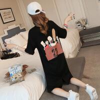 欧美女装韩版连衣裙2019春季新款韩版卡通图案黑色连衣裙女装宽松中长款短袖T恤裙夏 黑色