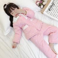 儿童睡衣冬季加厚款夹棉法兰绒保暖中大童家居服套装女孩