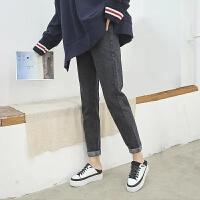 加绒高腰哈伦萝卜直筒阔腿牛仔裤女宽松韩版学生显瘦 XS 建议70-80斤