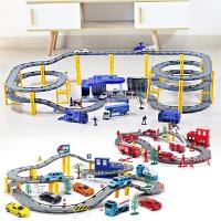 儿童电动火车玩具2-6岁男孩轨道车玩具警察小汽车工程车套装