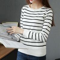 加绒加厚毛衣女秋冬装修身短款条纹针织衫保暖衣服长袖打底衫