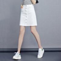 高腰白色牛仔裙半身裙中�L款2018新款�n��a型春夏季一步裙A字裙女