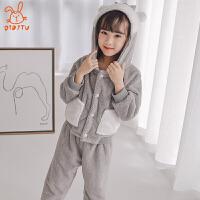 儿童睡衣珊瑚绒冬季加厚款保暖套装儿童长袖法兰绒家居服