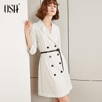 【2.5折到手价:223.3】OSA欧莎西装连衣裙2019新款夏气质白色条纹裙子女收腰显瘦职业裙