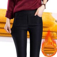 高腰裤子女秋冬外穿黑色加绒打底裤显瘦韩版弹力铅笔小脚长裤