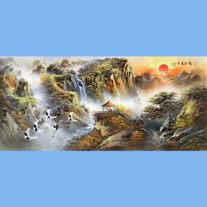 深圳大芬风水山水油画大师,知名画家汤贺文关门弟子,中国油画第一村职业画家吕国良(旭日东升1)