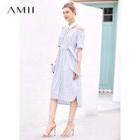 【开学季 预估券后价:126元】Amii极简法式时尚条纹连衣裙2019夏季露肩配腰带宽松收腰显瘦裙子