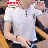 夏季男士圆领短袖t恤韩版潮流2019新款修身半袖体恤帅气夏装上衣