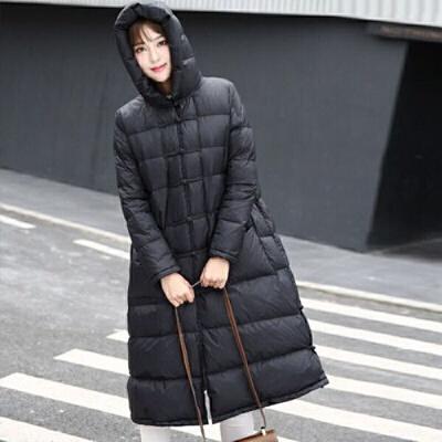 白鸭绒2019冬季复古盘扣轻薄羽绒服女中长款加厚大码过膝外套
