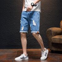 牛仔短裤男士夏季薄款五分裤男5分马裤夏天修身韩版破洞中裤裤子 HL 917蓝色