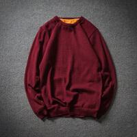 冬季加绒加厚毛衣男士加肥加大码韩版修身圆领套头针织衫潮流线衣