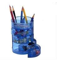 齐心B2101笔筒 四格分类圆形透明塑料笔筒 办公笔筒 四层笔筒