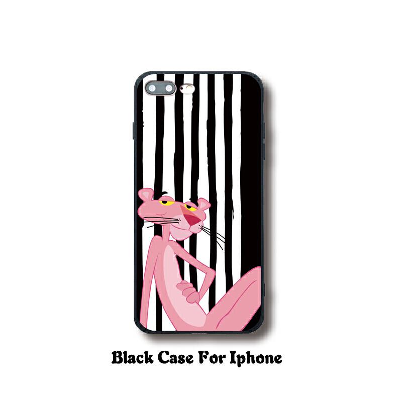 卡通可爱粉红豹iphone8/7plus手机壳苹果X硅胶软6splus女款5s潮男