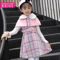 儿童毛呢格子背心裙秋冬季新款连衣裙大童套装