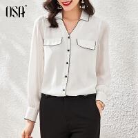 【2件1.5折价:129元】OSA欧莎女士ol职业装白色衬衫春季2021年新款设计款小众衬衣长袖上衣