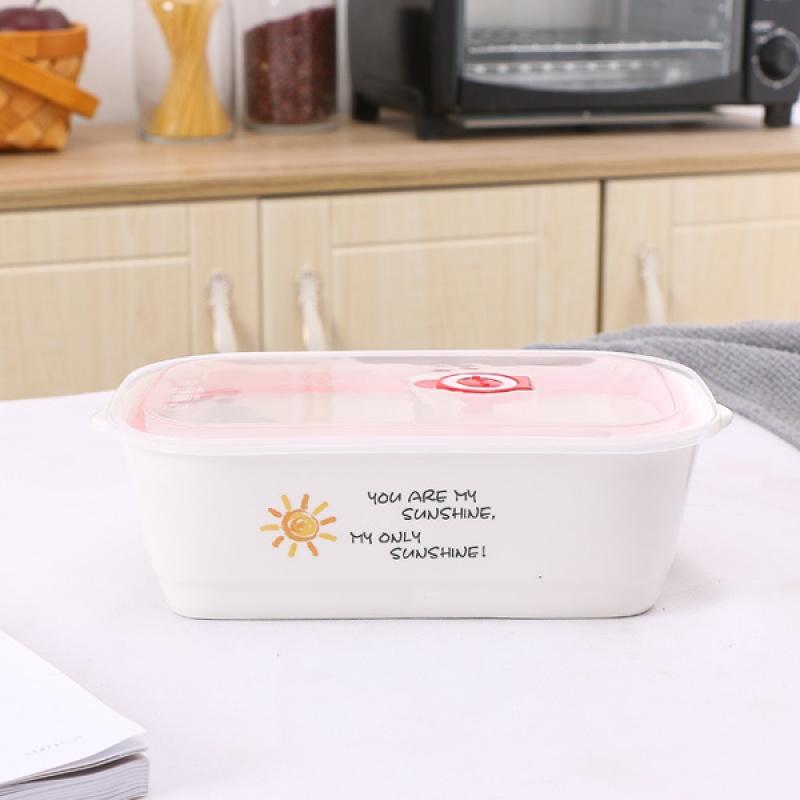 20190309091304631陶瓷卡通三格多格饭盒便当盒三件套保鲜碗带盖可微波炉饭盒