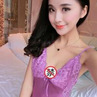 睡衣女夏天睡裙吊带性感内衣情趣薄款冰丝绸中短裙诱惑 1701大红 M160