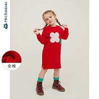 【618年中庆 2件3折价:81】迷你巴拉巴拉儿童连衣裙女童纯棉针织长裙2020春新款童装花朵裙子