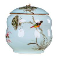 景德镇纯手工绘制陶瓷茶叶罐大号普洱七饼罐茶缸茶盒茶叶桶储茶罐 图片色
