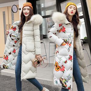 RANJU然聚2018秋季女装新品新款女两面穿中长款棉服大码胖MM修身棉衣外套