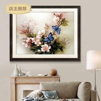 蒙娜丽莎十字绣蓝蝴蝶小幅小画简单新款客厅线绣卧室油画玉兰花卉SN8547