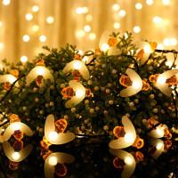 【年货大促 限时8折】彩灯串 圣诞节装饰灯串太阳能小蜜蜂灯串防水户外庭院装饰灯彩灯串 小蜜蜂灯串
