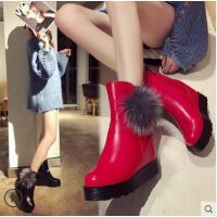 毛毛靴女百搭潮款厚底内增高短靴子女防滑保暖雪地靴加绒女鞋