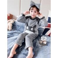女童珊瑚绒睡衣加厚款儿童法兰绒家居服小童宝宝秋冬季小女孩