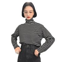 秋冬女装韩版宽松百搭学院风高领长袖条纹T恤打底衫显瘦上衣学生 图片色 均码