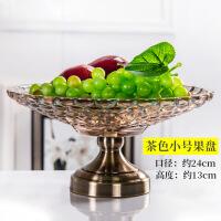 玻璃水果盘欧式水晶家用现代客厅茶几果盘双层糖果盘创意摆件