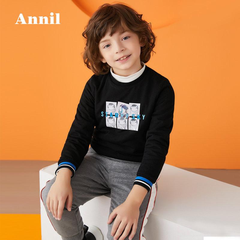 安奈儿童装男童体恤2019冬季新款针织衫加厚保暖长袖印花棉T恤 精致图案与袖子撞色,棉衣舒服保暖
