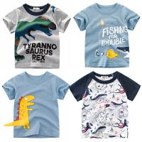 韩版童装新款2019夏季男童短袖T恤 儿童服装小孩上衣宝宝半袖恐龙