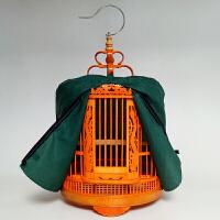 鸟笼子 画眉鸟笼 橘红色竹装饰八哥鸟笼雕花笼雕龙鸟笼