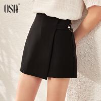 【直降2.5折价:134】OSA欧莎高腰不规则黑色半身裙女2020年新款春秋季a字裙裤显瘦短裙