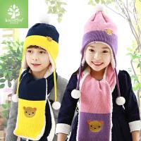 男女童儿童帽子潮冬宝宝帽子秋冬帽子围巾两件套装护耳帽小孩帽子