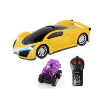 摇空车 大号四通充电遥控车3D彩灯光汽车跑车男孩电动儿童玩具车无线赛车 法*利黄色电池版 前后二通