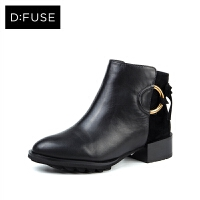 D:Fuse/迪芙斯冬圆头拼接蝴蝶结粗跟绒里短靴DF74118019