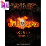 【中商海外直订】HALLOWEEN Skulls Book 1: Thematic Coloring Books Fo