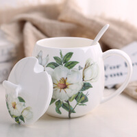 陶瓷杯马克杯带盖勺家用骨瓷女创意杯子早晨牛奶杯咖啡杯情侣水杯