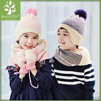 韩国KK树2015新品儿童帽子围巾两件套套装秋冬款男童女童毛线帽子